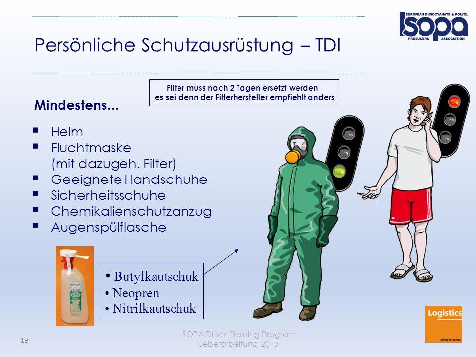 ISOPA Driver Training Program Ueberarbeitung 2015 19 Persönliche Schutzausrüstung – TDI  Helm  Fluchtmaske (mit dazugeh. Filter)  Geeignete Handsch