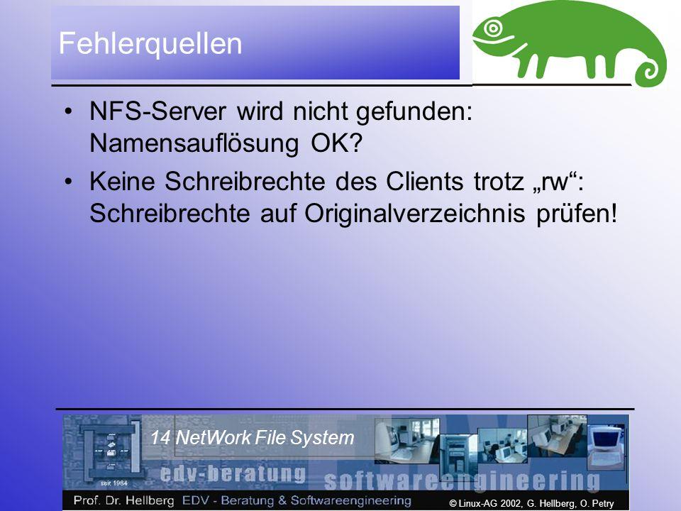 © Linux-AG 2002, G. Hellberg, O. Petry 14 NetWork File System Fehlerquellen NFS-Server wird nicht gefunden: Namensauflösung OK? Keine Schreibrechte de