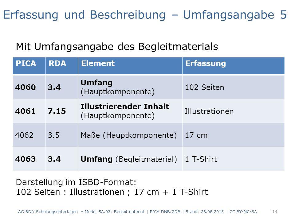 PICARDAElementErfassung 40603.4 Umfang (Hauptkomponente) 102 Seiten 40617.15 Illustrierender Inhalt (Hauptkomponente) Illustrationen 40623.5Maße (Hauptkomponente)17 cm 40633.4Umfang (Begleitmaterial)1 T-Shirt Erfassung und Beschreibung – Umfangsangabe 5 Mit Umfangsangabe des Begleitmaterials Darstellung im ISBD-Format: 102 Seiten : Illustrationen ; 17 cm + 1 T-Shirt 13 AG RDA Schulungsunterlagen – Modul 5A.03: Begleitmaterial | PICA DNB/ZDB | Stand: 28.08.2015 | CC BY-NC-SA