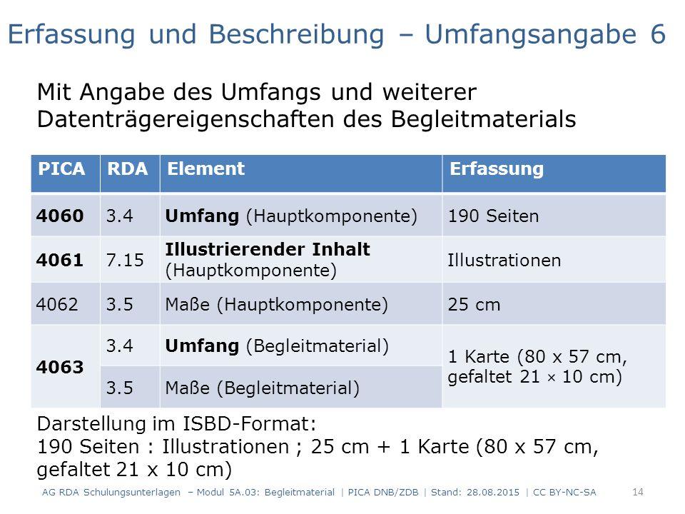 PICARDAElementErfassung 40603.4Umfang (Hauptkomponente)190 Seiten 40617.15 Illustrierender Inhalt (Hauptkomponente) Illustrationen 40623.5Maße (Hauptkomponente)25 cm 4063 3.4Umfang (Begleitmaterial) 1 Karte (80 x 57 cm, gefaltet 21 × 10 cm) 3.5Maße (Begleitmaterial) Erfassung und Beschreibung – Umfangsangabe 6 Mit Angabe des Umfangs und weiterer Datenträgereigenschaften des Begleitmaterials Darstellung im ISBD-Format: 190 Seiten : Illustrationen ; 25 cm + 1 Karte (80 x 57 cm, gefaltet 21 x 10 cm) 14 AG RDA Schulungsunterlagen – Modul 5A.03: Begleitmaterial | PICA DNB/ZDB | Stand: 28.08.2015 | CC BY-NC-SA