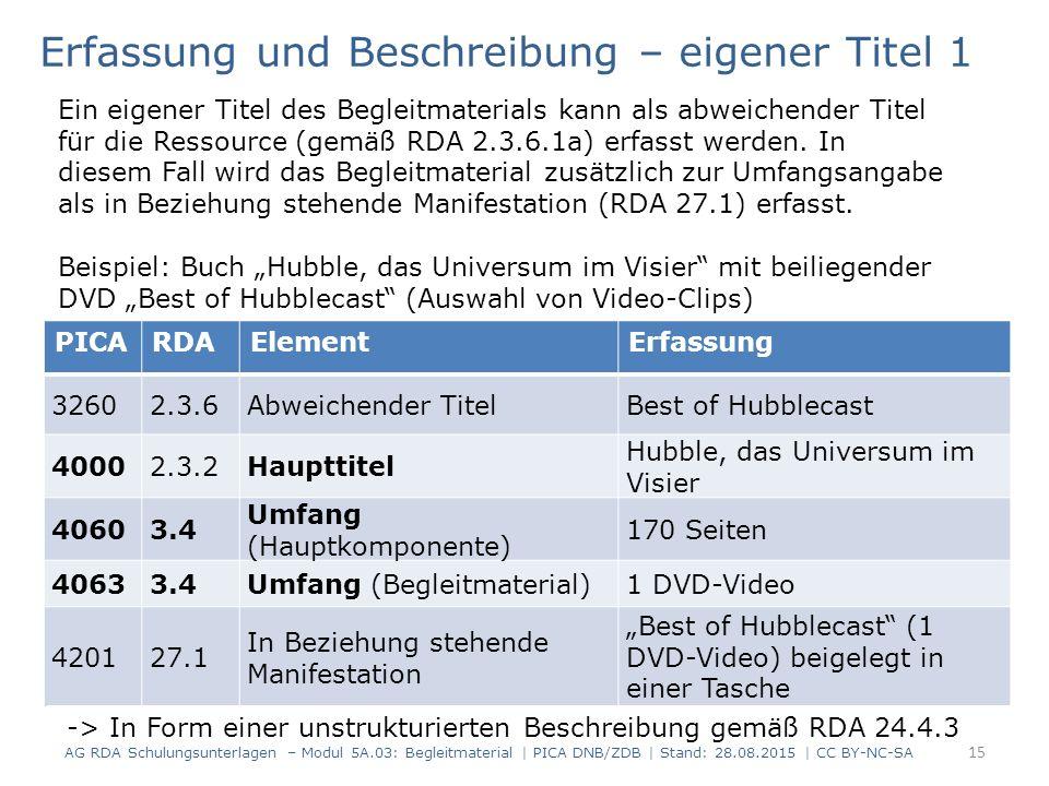 """PICARDAElementErfassung 32602.3.6Abweichender TitelBest of Hubblecast 40002.3.2Haupttitel Hubble, das Universum im Visier 40603.4 Umfang (Hauptkomponente) 170 Seiten 40633.4Umfang (Begleitmaterial)1 DVD-Video 420127.1 In Beziehung stehende Manifestation """"Best of Hubblecast (1 DVD-Video) beigelegt in einer Tasche Erfassung und Beschreibung – eigener Titel 1 Ein eigener Titel des Begleitmaterials kann als abweichender Titel für die Ressource (gemäß RDA 2.3.6.1a) erfasst werden."""