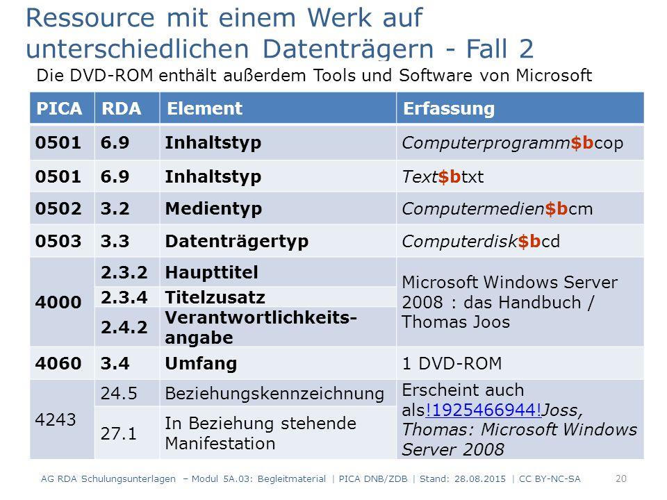 PICARDAElementErfassung 05016.9InhaltstypComputerprogramm$bcop 05016.9InhaltstypText$btxt 05023.2MedientypComputermedien$bcm 05033.3DatenträgertypComputerdisk$bcd 4000 2.3.2Haupttitel Microsoft Windows Server 2008 : das Handbuch / Thomas Joos 2.3.4Titelzusatz 2.4.2 Verantwortlichkeits- angabe 40603.4Umfang1 DVD-ROM 4243 24.5Beziehungskennzeichnung Erscheint auch als!1925466944!Joss, Thomas: Microsoft Windows Server 2008!1925466944.