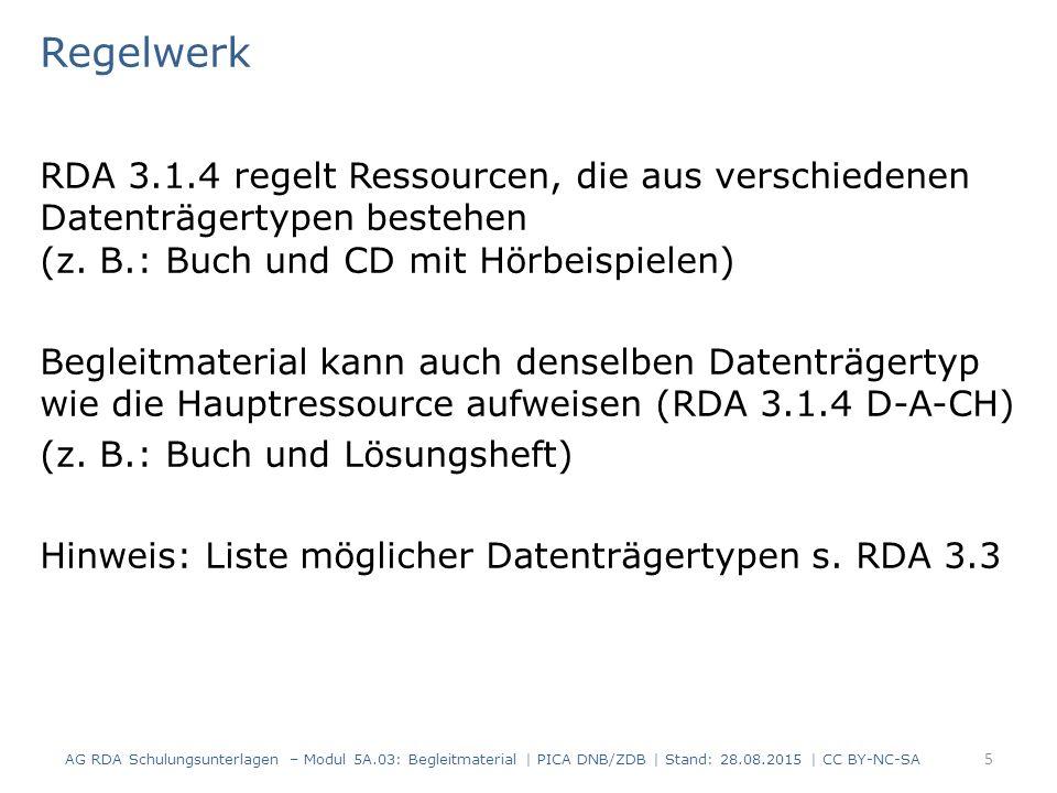 Regelwerk RDA 3.1.4 regelt Ressourcen, die aus verschiedenen Datenträgertypen bestehen (z.