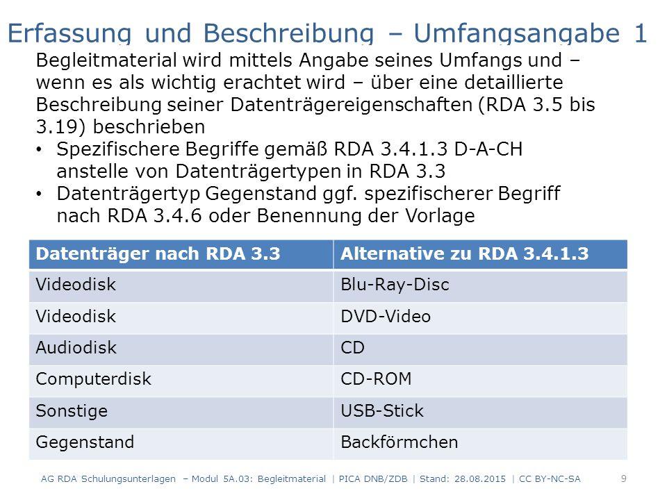 Datenträger nach RDA 3.3Alternative zu RDA 3.4.1.3 VideodiskBlu-Ray-Disc VideodiskDVD-Video AudiodiskCD ComputerdiskCD-ROM SonstigeUSB-Stick GegenstandBackförmchen Erfassung und Beschreibung – Umfangsangabe 1 Begleitmaterial wird mittels Angabe seines Umfangs und – wenn es als wichtig erachtet wird – über eine detaillierte Beschreibung seiner Datenträgereigenschaften (RDA 3.5 bis 3.19) beschrieben Spezifischere Begriffe gemäß RDA 3.4.1.3 D-A-CH anstelle von Datenträgertypen in RDA 3.3 Datenträgertyp Gegenstand ggf.
