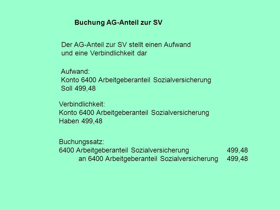 Buchung AG-Anteil zur SV Buchungssatz: 6400 Arbeitgeberanteil Sozialversicherung 499,48 an 6400 Arbeitgeberanteil Sozialversicherung 499,48 Der AG-Ant