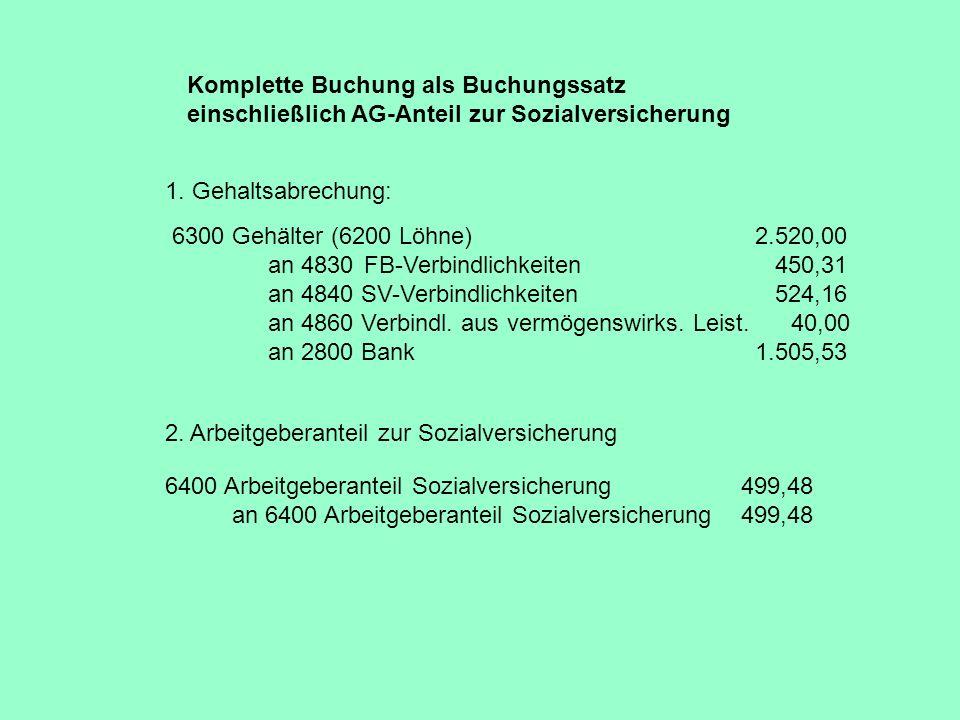 Komplette Buchung als Buchungssatz einschließlich AG-Anteil zur Sozialversicherung 6300 Gehälter (6200 Löhne) 2.520,00 an 4830FB-Verbindlichkeiten 450