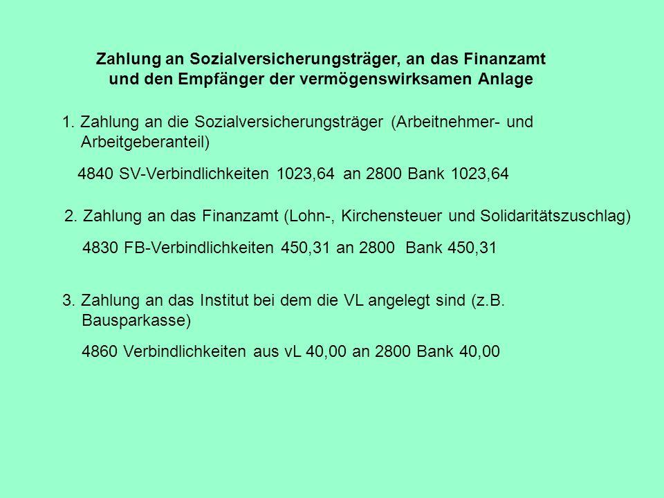 Zahlung an Sozialversicherungsträger, an das Finanzamt und den Empfänger der vermögenswirksamen Anlage 1. Zahlung an die Sozialversicherungsträger (Ar