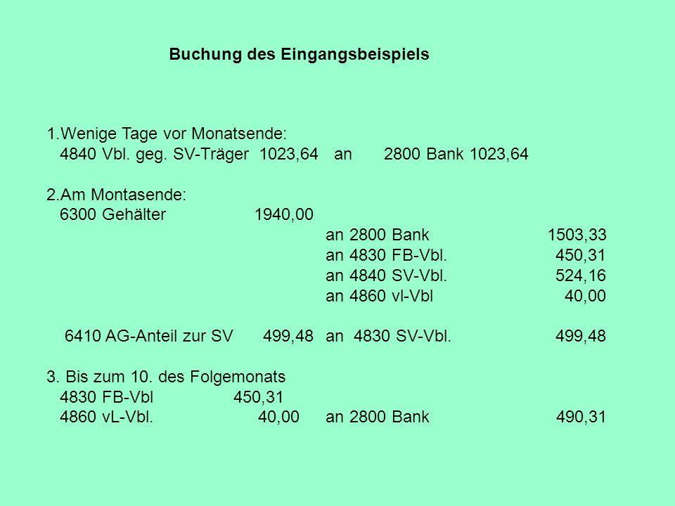 Buchung des Eingangsbeispiels 1.Wenige Tage vor Monatsende: 4840 Vbl. geg. SV-Träger 1023,64 an2800 Bank 1023,64 2.Am Montasende: 6300 Gehälter 1940,0