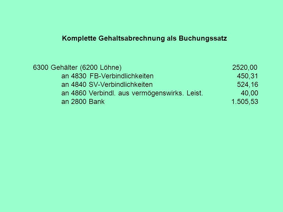 Komplette Gehaltsabrechnung als Buchungssatz 6300 Gehälter (6200 Löhne) 2520,00 an 4830FB-Verbindlichkeiten 450,31 an 4840 SV-Verbindlichkeiten 524,16