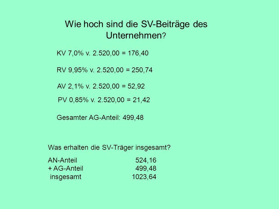 Wie hoch sind die SV-Beiträge des Unternehmen ? KV 7,0% v. 2.520,00 = 176,40 RV 9,95% v. 2.520,00 = 250,74 AV 2,1% v. 2.520,00 = 52,92 PV 0,85% v. 2.5