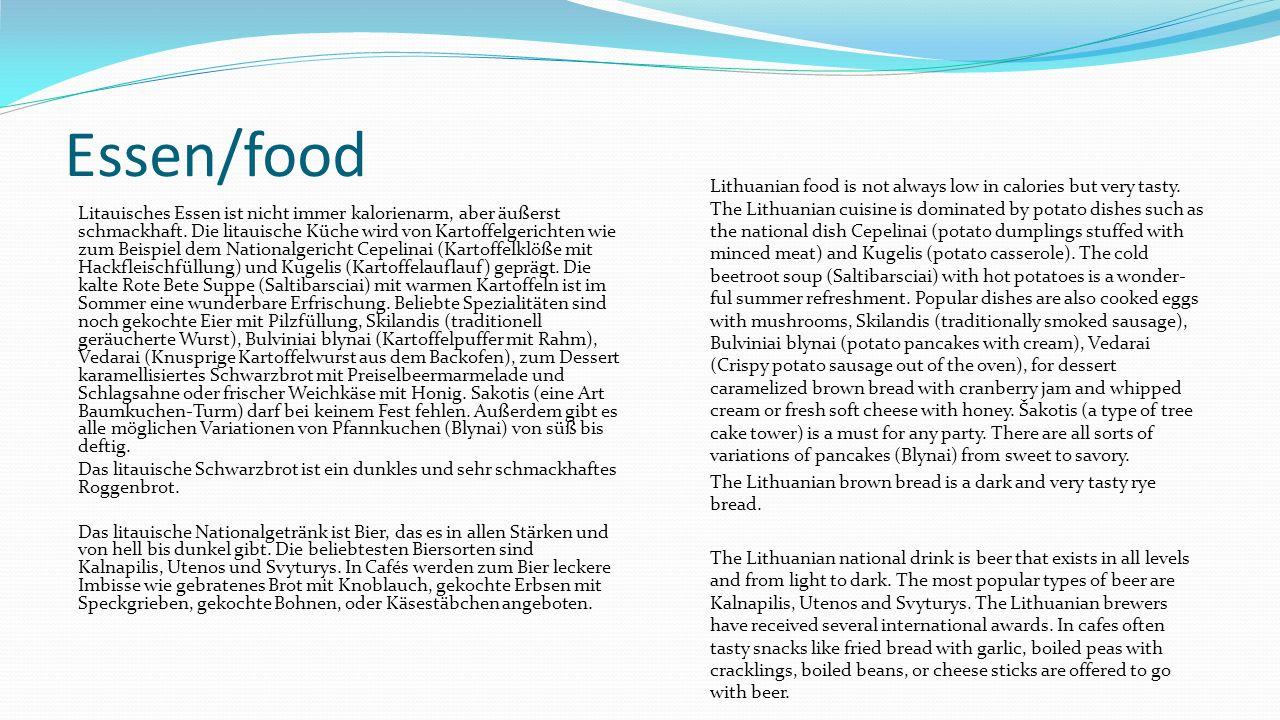 Essen/food Litauisches Essen ist nicht immer kalorienarm, aber äußerst schmackhaft. Die litauische Küche wird von Kartoffelgerichten wie zum Beispiel