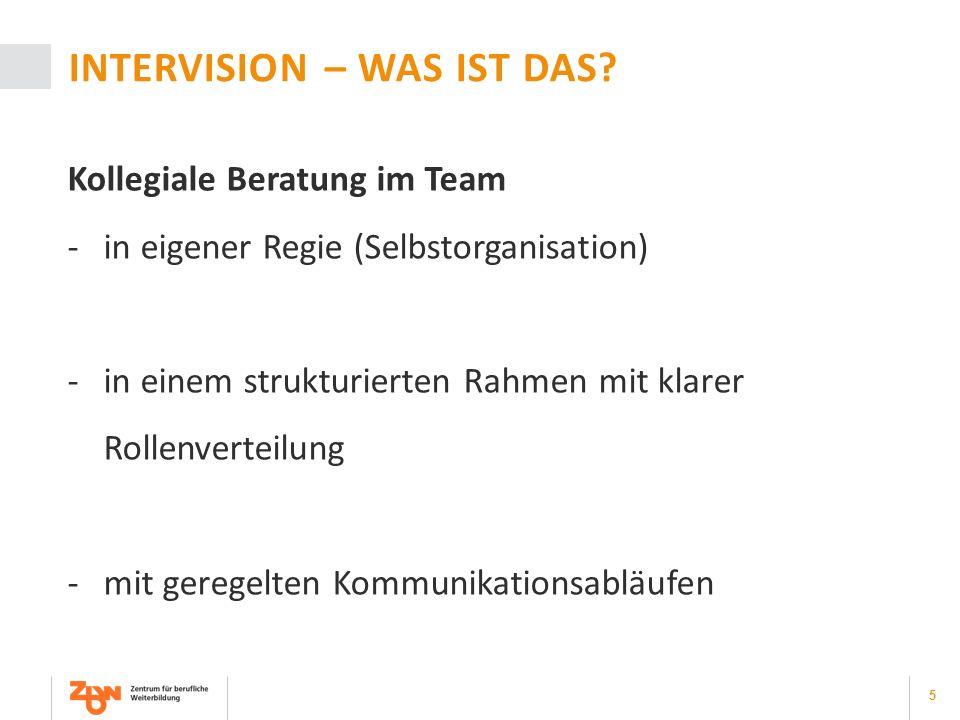 5 INTERVISION – WAS IST DAS? Kollegiale Beratung im Team -in eigener Regie (Selbstorganisation) -in einem strukturierten Rahmen mit klarer Rollenverte