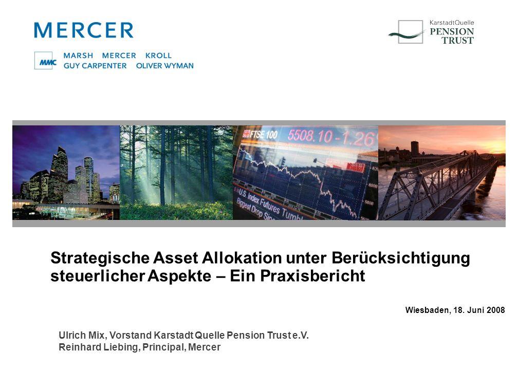 Strategische Asset Allokation unter Berücksichtigung steuerlicher Aspekte – Ein Praxisbericht Wiesbaden, 18. Juni 2008 Ulrich Mix, Vorstand Karstadt Q