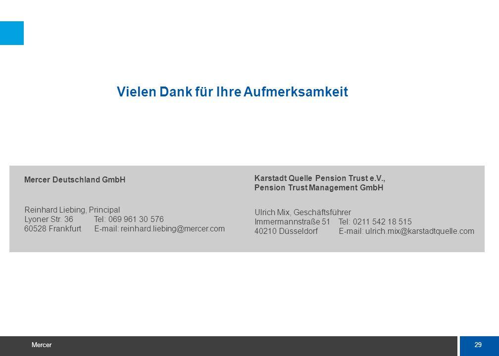 29 Mercer Mercer Deutschland GmbH Reinhard Liebing, Principal Lyoner Str. 36Tel: 069 961 30 576 60528 FrankfurtE-mail: reinhard.liebing@mercer.com Vie