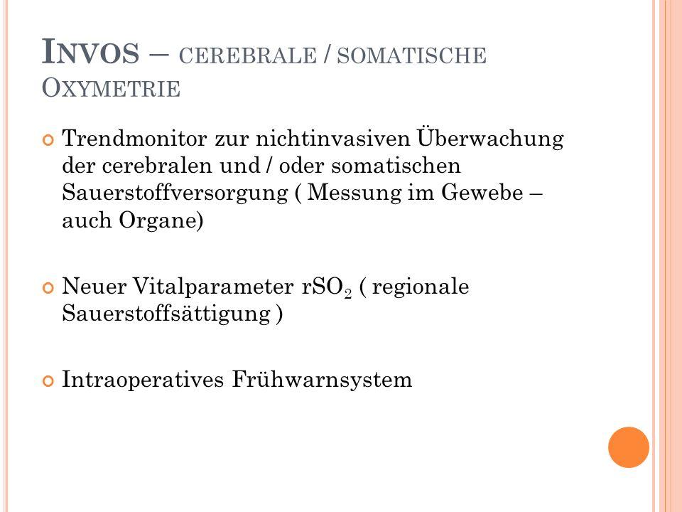 I NVOS – CEREBRALE / SOMATISCHE O XYMETRIE Trendmonitor zur nichtinvasiven Überwachung der cerebralen und / oder somatischen Sauerstoffversorgung ( Messung im Gewebe – auch Organe) Neuer Vitalparameter rSO 2 ( regionale Sauerstoffsättigung ) Intraoperatives Frühwarnsystem