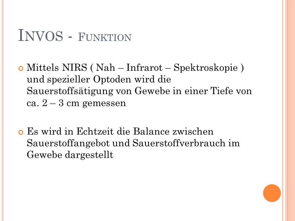 I NVOS - F UNKTION Mittels NIRS ( Nah – Infrarot – Spektroskopie ) und spezieller Optoden wird die Sauerstoffsätigung von Gewebe in einer Tiefe von ca.