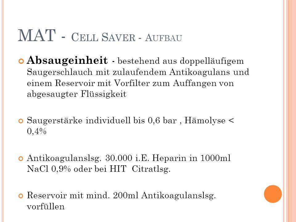 MAT - C ELL S AVER - A UFBAU Absaugeinheit - bestehend aus doppelläufigem Saugerschlauch mit zulaufendem Antikoagulans und einem Reservoir mit Vorfilter zum Auffangen von abgesaugter Flüssigkeit Saugerstärke individuell bis 0,6 bar, Hämolyse < 0,4% Antikoagulanslsg.