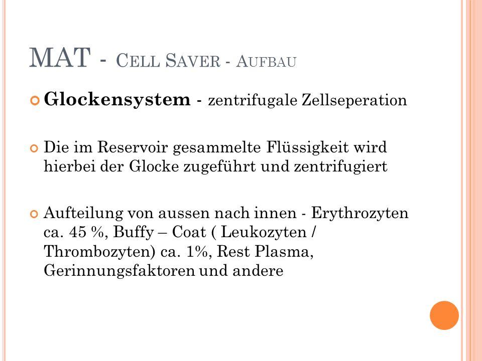 Glockensystem - zentrifugale Zellseperation Die im Reservoir gesammelte Flüssigkeit wird hierbei der Glocke zugeführt und zentrifugiert Aufteilung von aussen nach innen - Erythrozyten ca.
