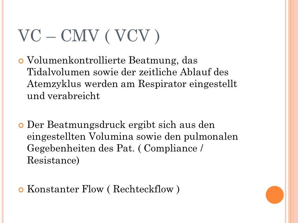 VC – CMV ( VCV ) Volumenkontrollierte Beatmung, das Tidalvolumen sowie der zeitliche Ablauf des Atemzyklus werden am Respirator eingestellt und verabreicht Der Beatmungsdruck ergibt sich aus den eingestellten Volumina sowie den pulmonalen Gegebenheiten des Pat.