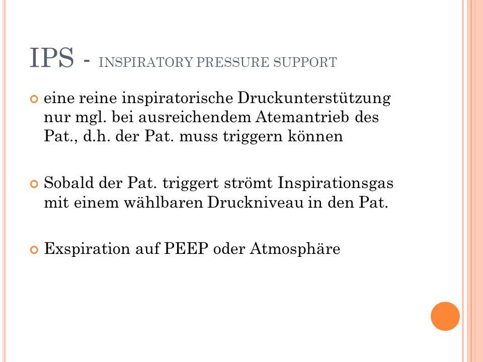 IPS - INSPIRATORY PRESSURE SUPPORT eine reine inspiratorische Druckunterstützung nur mgl.