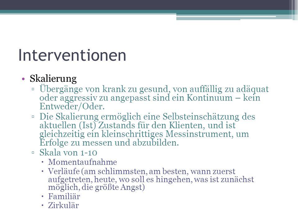 Interventionen Skalierung ▫Übergänge von krank zu gesund, von auffällig zu adäquat oder aggressiv zu angepasst sind ein Kontinuum – kein Entweder/Oder