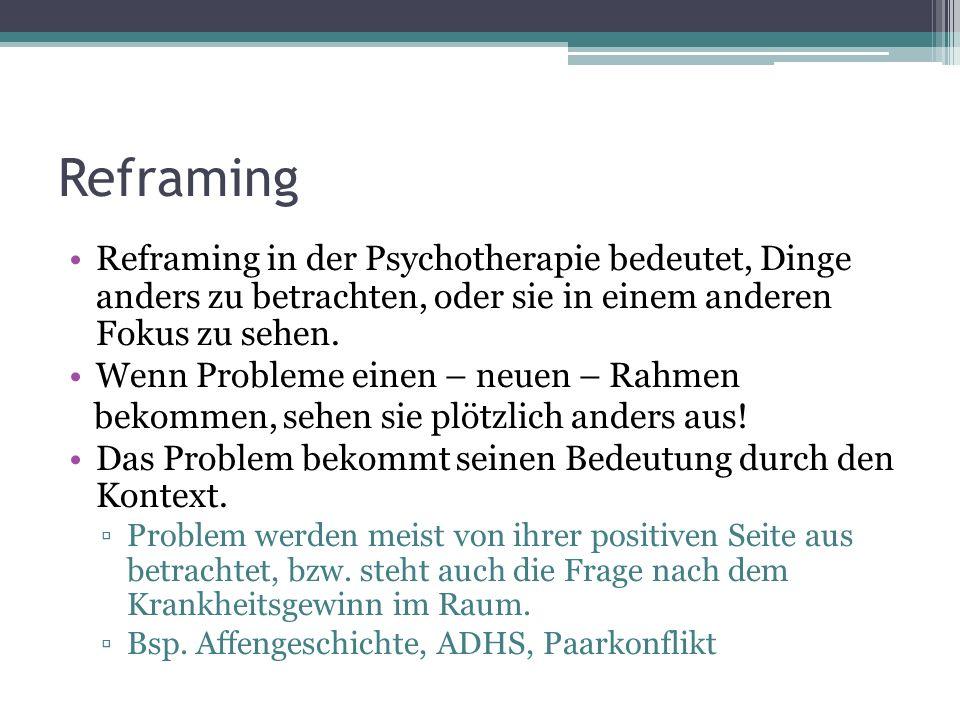 Reframing Reframing in der Psychotherapie bedeutet, Dinge anders zu betrachten, oder sie in einem anderen Fokus zu sehen. Wenn Probleme einen – neuen