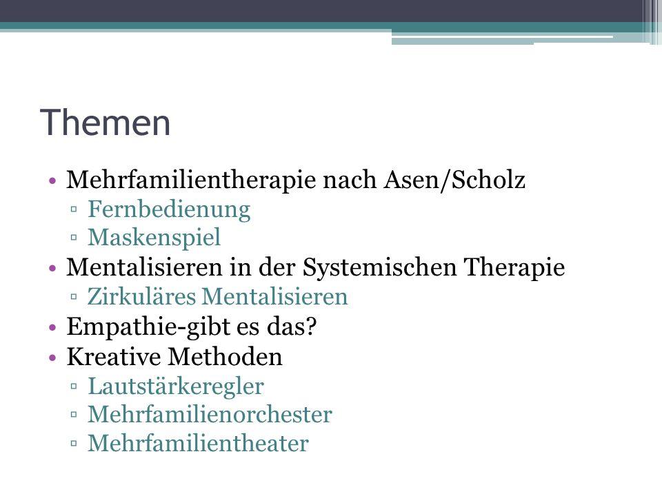 Themen Mehrfamilientherapie nach Asen/Scholz ▫Fernbedienung ▫Maskenspiel Mentalisieren in der Systemischen Therapie ▫Zirkuläres Mentalisieren Empathie