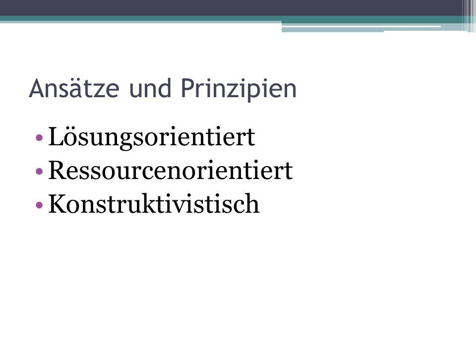 Ansätze und Prinzipien Lösungsorientiert Ressourcenorientiert Konstruktivistisch