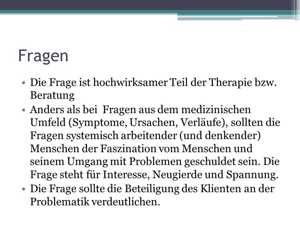 Fragen Die Frage ist hochwirksamer Teil der Therapie bzw. Beratung Anders als bei Fragen aus dem medizinischen Umfeld (Symptome, Ursachen, Verläufe),