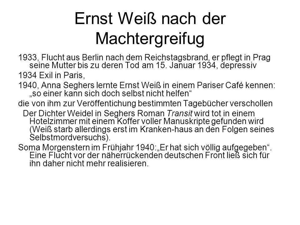 Ernst Weiß nach der Machtergreifug 1933, Flucht aus Berlin nach dem Reichstagsbrand, er pflegt in Prag seine Mutter bis zu deren Tod am 15. Januar 193
