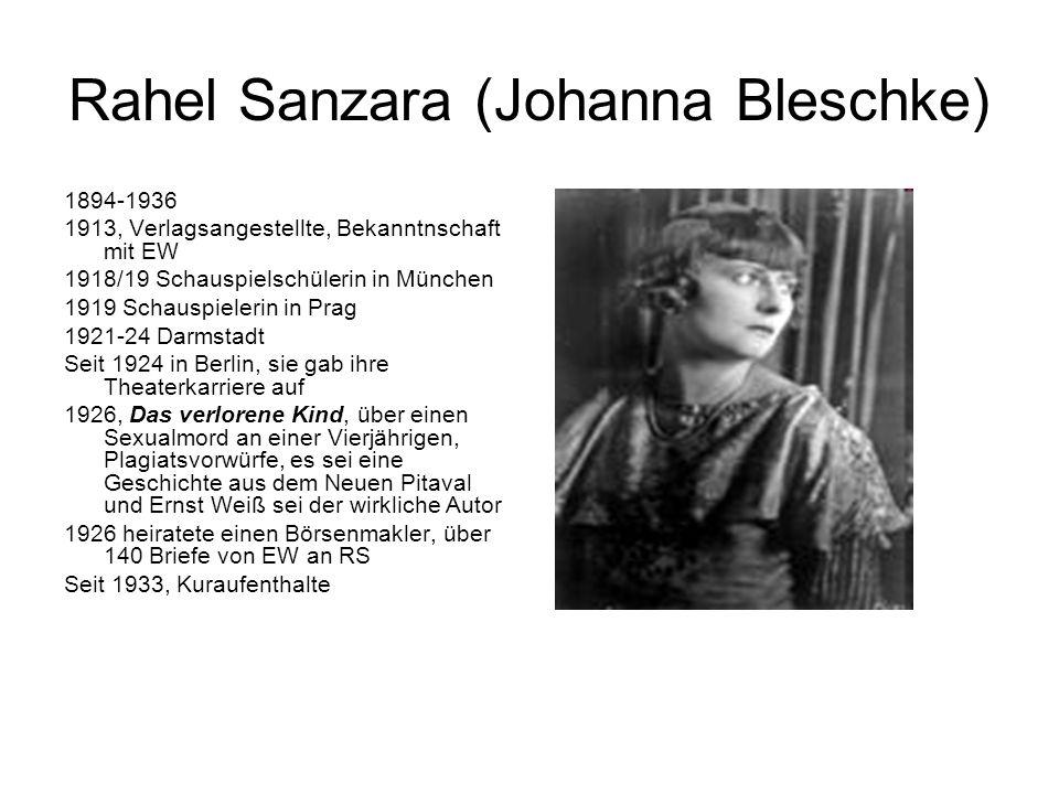 Rahel Sanzara (Johanna Bleschke) 1894-1936 1913, Verlagsangestellte, Bekanntnschaft mit EW 1918/19 Schauspielschülerin in München 1919 Schauspielerin