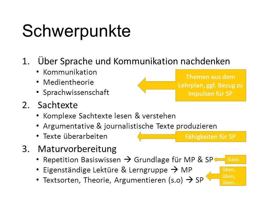 Schwerpunkte 1.Über Sprache und Kommunikation nachdenken Kommunikation Medientheorie Sprachwissenschaft 2.Sachtexte Komplexe Sachtexte lesen & versteh