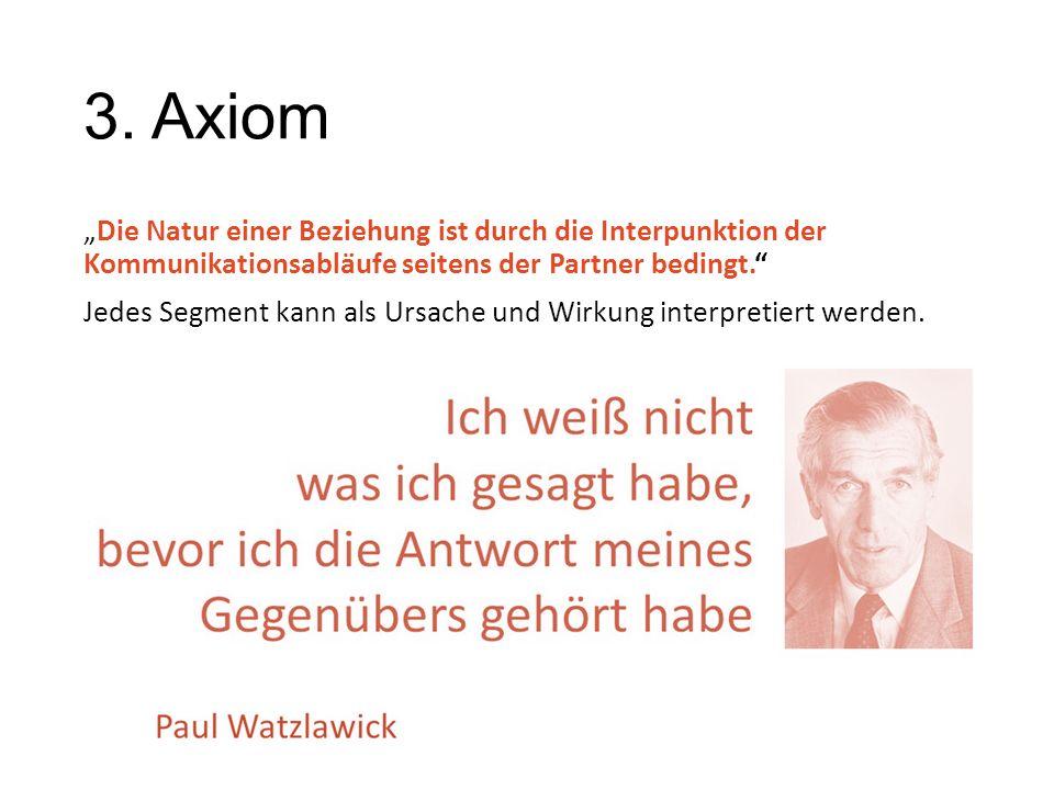 """3. Axiom """"Die Natur einer Beziehung ist durch die Interpunktion der Kommunikationsabläufe seitens der Partner bedingt."""" Jedes Segment kann als Ursach"""