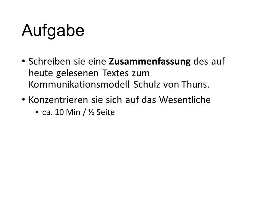 Aufgabe Schreiben sie eine Zusammenfassung des auf heute gelesenen Textes zum Kommunikationsmodell Schulz von Thuns. Konzentrieren sie sich auf das We
