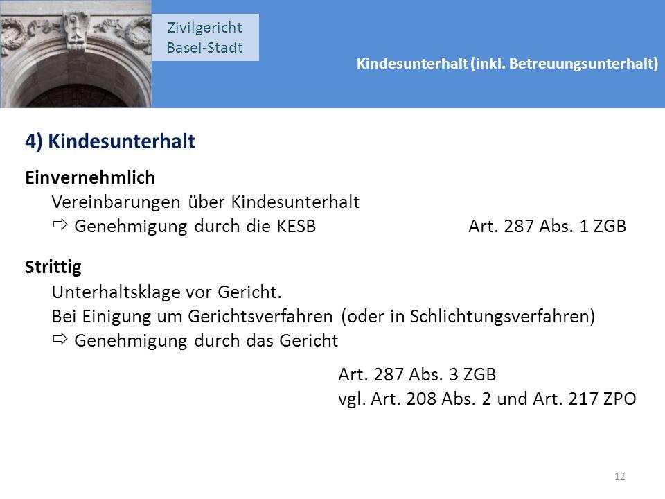 Kindesunterhalt (inkl. Betreuungsunterhalt) Zivilgericht Basel-Stadt 4) Kindesunterhalt Einvernehmlich Vereinbarungen über Kindesunterhalt  Genehmigu
