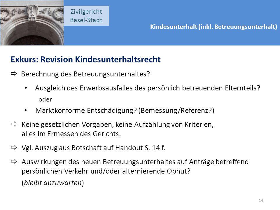 Kindesunterhalt (inkl. Betreuungsunterhalt) Zivilgericht Basel-Stadt Exkurs: Revision Kindesunterhaltsrecht  Berechnung des Betreuungsunterhaltes? Au