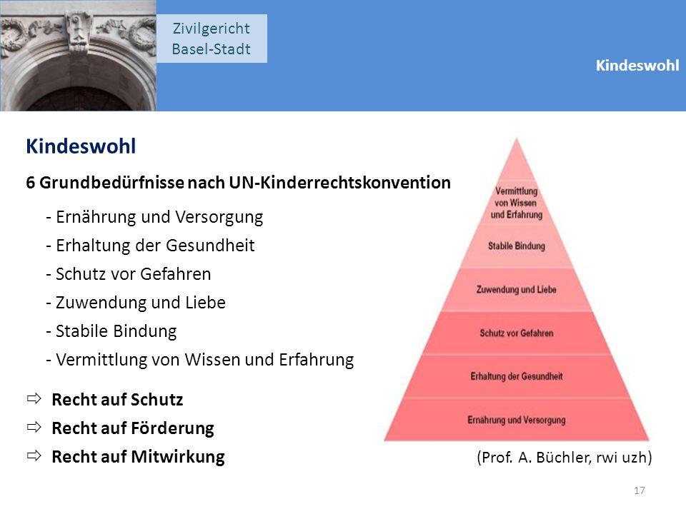 Kindeswohl Zivilgericht Basel-Stadt Kindeswohl 6 Grundbedürfnisse nach UN-Kinderrechtskonvention - Ernährung und Versorgung - Erhaltung der Gesundheit