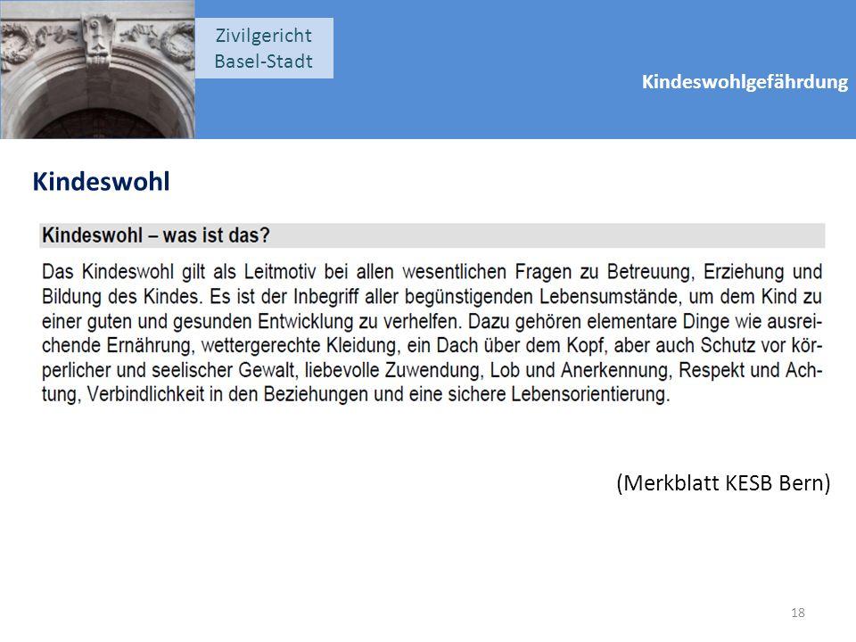 Kindeswohlgefährdung Zivilgericht Basel-Stadt Kindeswohl (Merkblatt KESB Bern) 18