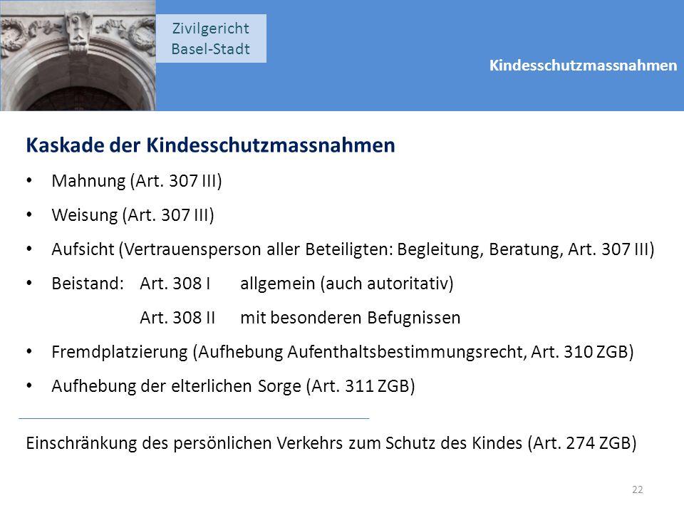 Kindesschutzmassnahmen Zivilgericht Basel-Stadt Kaskade der Kindesschutzmassnahmen Mahnung (Art. 307 III) Weisung (Art. 307 III) Aufsicht (Vertrauensp