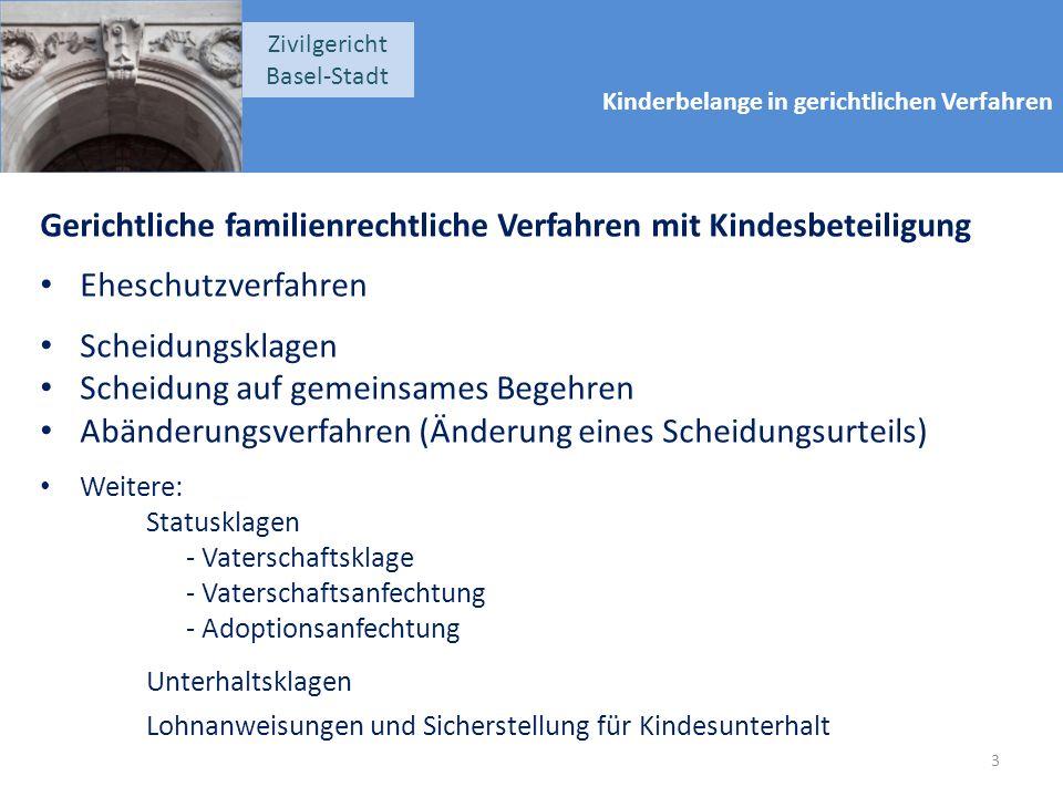 Kinderbelange in gerichtlichen Verfahren Zivilgericht Basel-Stadt Gerichtliche familienrechtliche Verfahren mit Kindesbeteiligung Eheschutzverfahren S