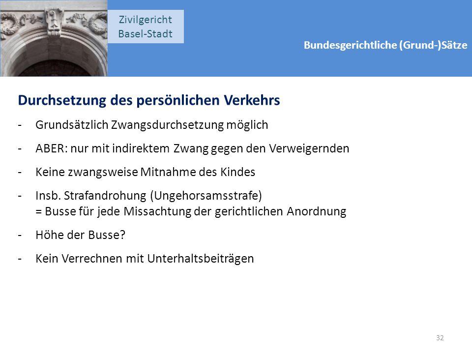 Bundesgerichtliche (Grund-)Sätze Zivilgericht Basel-Stadt Durchsetzung des persönlichen Verkehrs -Grundsätzlich Zwangsdurchsetzung möglich -ABER: nur mit indirektem Zwang gegen den Verweigernden -Keine zwangsweise Mitnahme des Kindes -Insb.