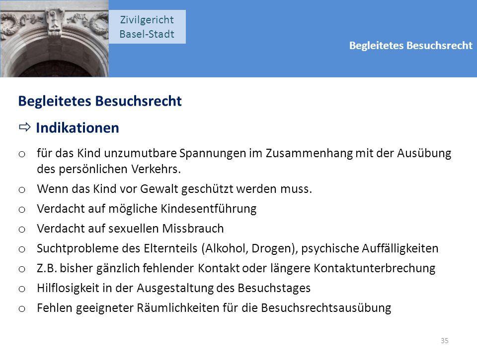 Begleitetes Besuchsrecht Zivilgericht Basel-Stadt Begleitetes Besuchsrecht  Indikationen o für das Kind unzumutbare Spannungen im Zusammenhang mit der Ausübung des persönlichen Verkehrs.