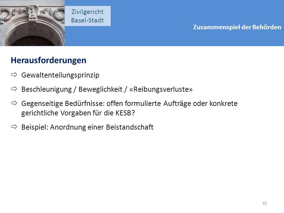 Zusammenspiel der Behörden Zivilgericht Basel-Stadt Herausforderungen  Gewaltenteilungsprinzip  Beschleunigung / Beweglichkeit / «Reibungsverluste»  Gegenseitige Bedürfnisse: offen formulierte Aufträge oder konkrete gerichtliche Vorgaben für die KESB.
