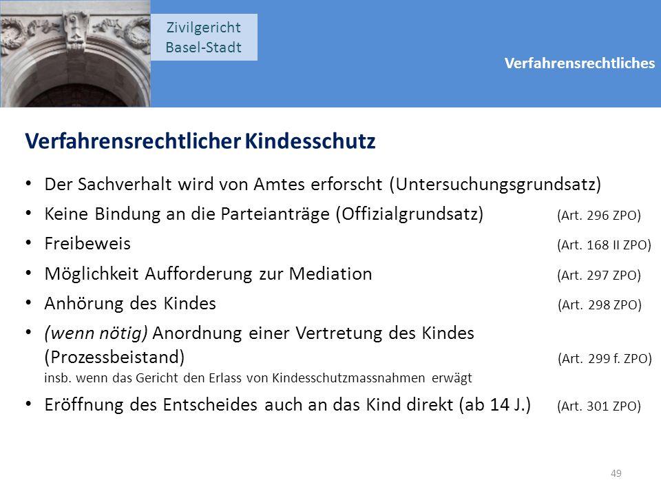 Verfahrensrechtliches Zivilgericht Basel-Stadt Verfahrensrechtlicher Kindesschutz Der Sachverhalt wird von Amtes erforscht (Untersuchungsgrundsatz) Ke