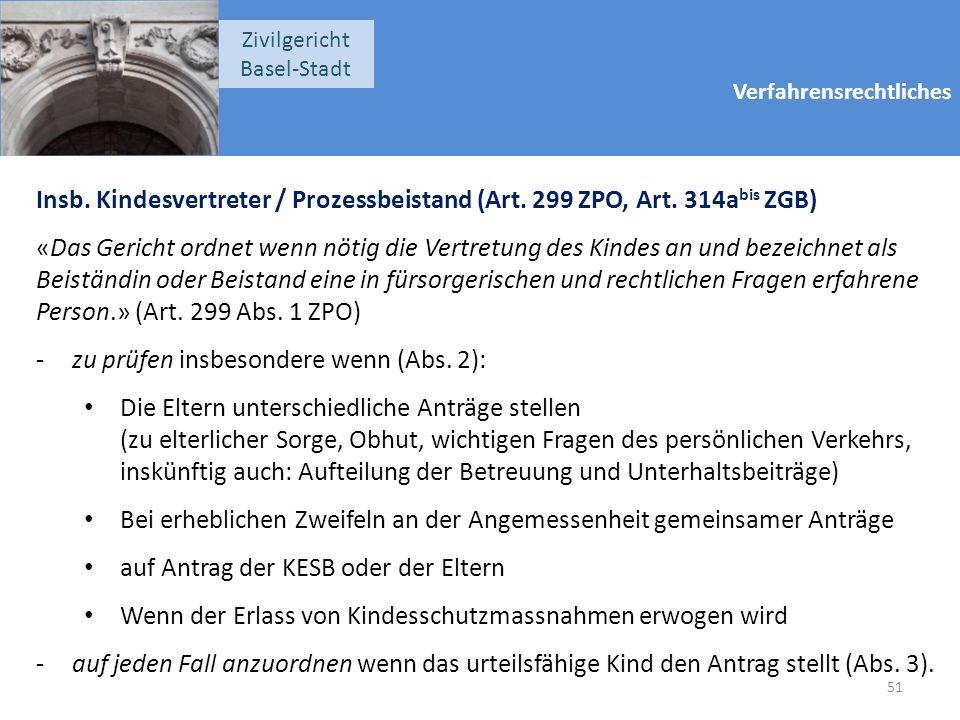 Verfahrensrechtliches Zivilgericht Basel-Stadt Insb. Kindesvertreter / Prozessbeistand (Art. 299 ZPO, Art. 314a bis ZGB) «Das Gericht ordnet wenn nöti