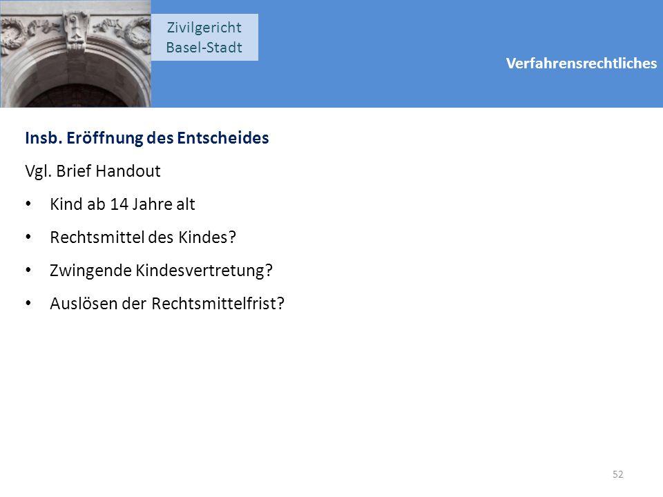 Verfahrensrechtliches Zivilgericht Basel-Stadt Insb. Eröffnung des Entscheides Vgl. Brief Handout Kind ab 14 Jahre alt Rechtsmittel des Kindes? Zwinge