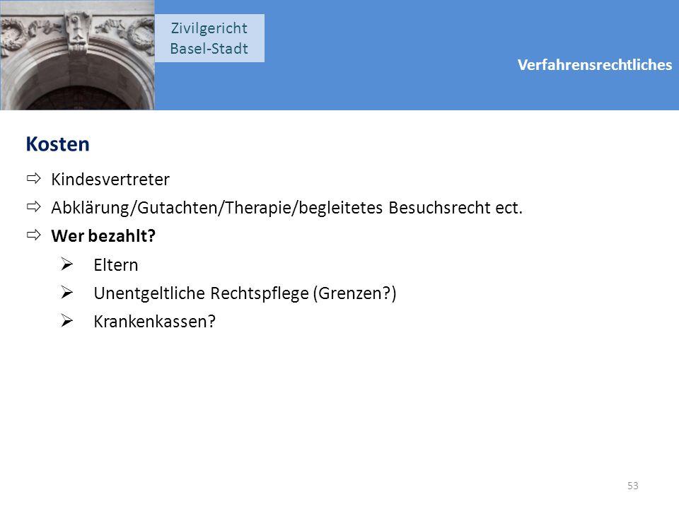 Verfahrensrechtliches Zivilgericht Basel-Stadt Kosten  Kindesvertreter  Abklärung/Gutachten/Therapie/begleitetes Besuchsrecht ect.  Wer bezahlt? 