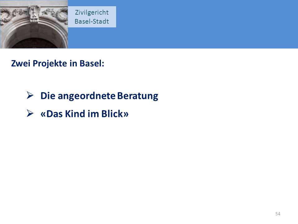 Zivilgericht Basel-Stadt Zwei Projekte in Basel:  Die angeordnete Beratung  «Das Kind im Blick» 54