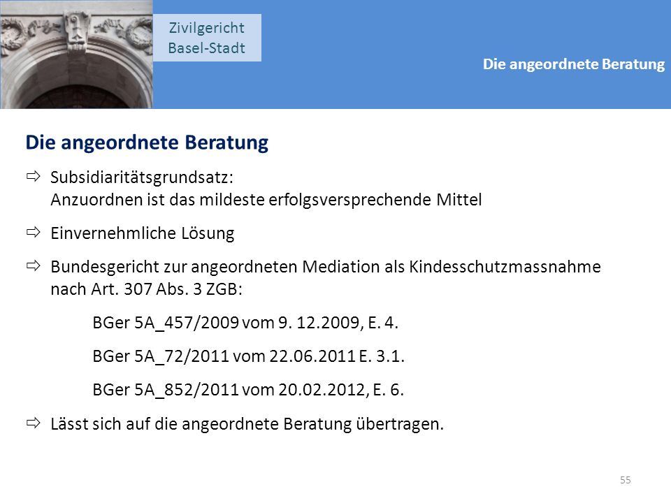 Die angeordnete Beratung Zivilgericht Basel-Stadt Die angeordnete Beratung  Subsidiaritätsgrundsatz: Anzuordnen ist das mildeste erfolgsversprechende