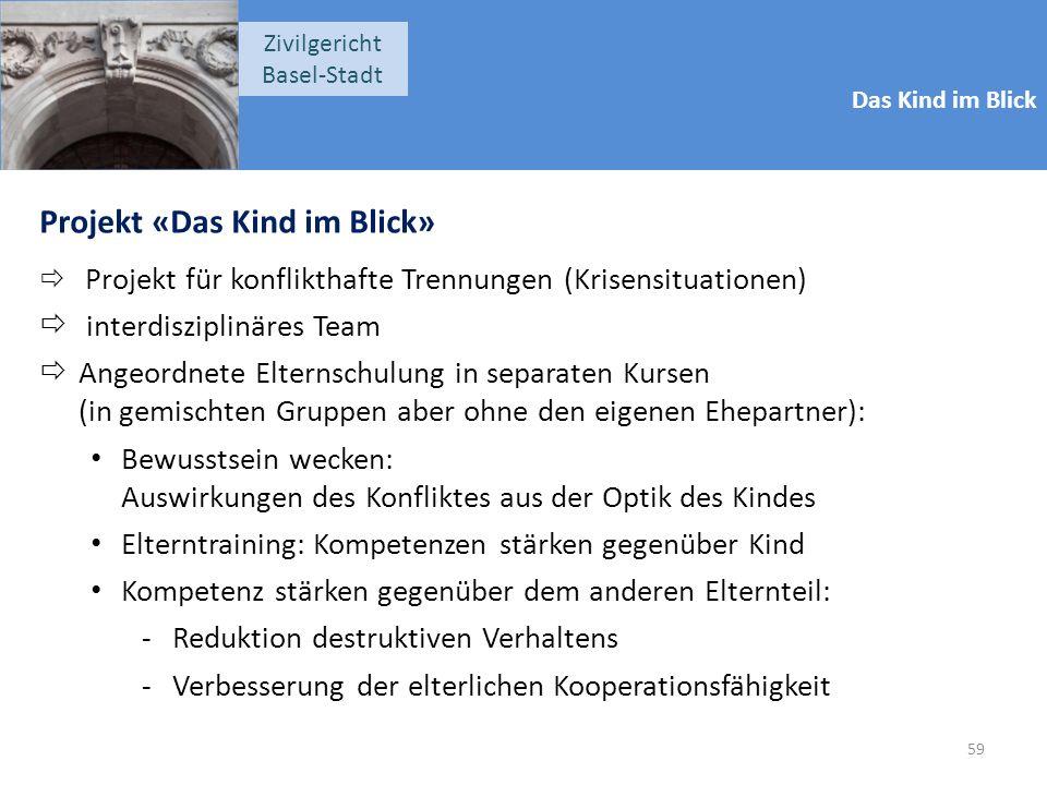 Das Kind im Blick Zivilgericht Basel-Stadt Projekt «Das Kind im Blick»  Projekt für konflikthafte Trennungen (Krisensituationen)  interdisziplinäres